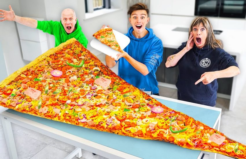 Eating The World's Largest Slice Of Pizza - Morgz Challenge