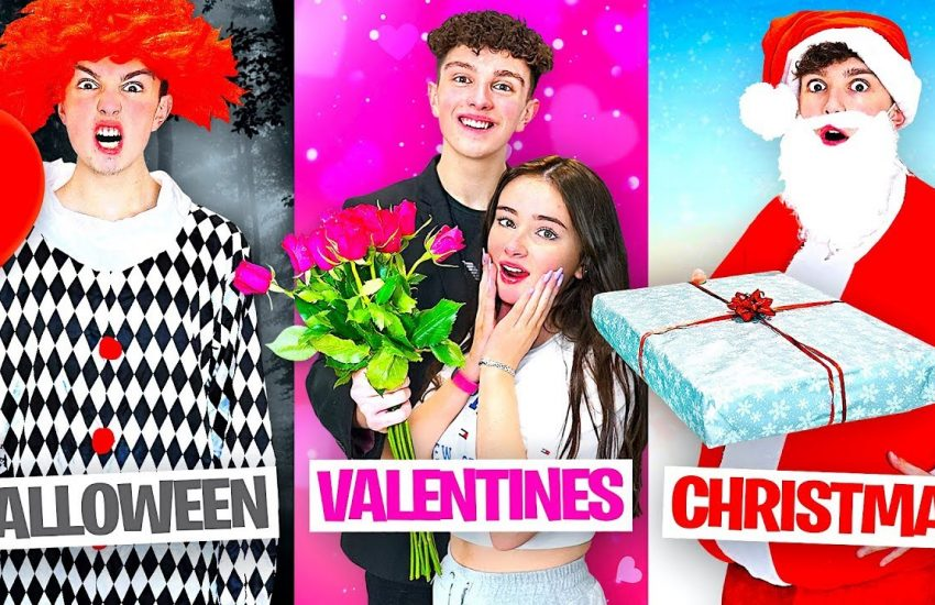 I Celebrated EVERY Holiday in 24 HOURS! - Morgz Challenge - Christmas Halloween & Valentines Day